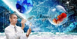 عکس با کیفیت تصویری ادغام شده از کوهستان برفی و کره زمین به همراه مردی در حال محاسبات و جنینی در حباب