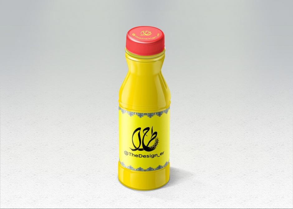 لایه باز موکاپ بطری آب میوه