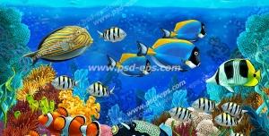 طرح یا نقاشی فانتزی ماهی های رنگارنگ کف اقیانوس مناسب آسمان مجازی آکواریوم