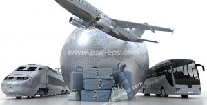عکس با کیفیت نمادین انواع راه های سفر از جمله سفر هوایی با هواپیما و سفر زمینی با قطار سریع السیر یا اتوبوس در اطراف کره زمین