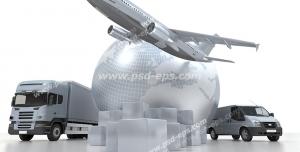 عکس با کیفیت نمادین انواع وسایل انتقال بار از جمله هواپیما ، ون و کامیون در اطراف کره زمین
