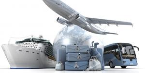 عکس با کیفیت نمادین راه های سفرهای خارجی هوایی با هواپیما ، سفر دریایی با کشتی و سفر زمینی با اتوبوس