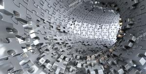 عکس با کیفیت دیوارپوش سه بعدی یا پس زمینه رندر سه بعدی با طرح تونلی تشکیل شده از قطعات پازل از جنس فولاد