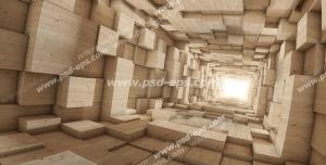 عکس با کیفیت دیوار سه بعدی یا دیوارپوش 3D با طرح راهرویی با مکعب مستطیلهای چوبی برجسته و فرو رفته به سمت نور
