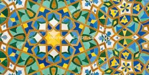 عکس با کیفیت نقاشی روی کاشی با طرح زیبای ایرانی و اسلیمی