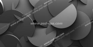 طرح دیوارپوش 3D یا سه بعدی یا پنل دکوراتیو با طرح دایره هایی به رنگ خاکستری تیره درون هم با چیدمانی به صورت نامنظم