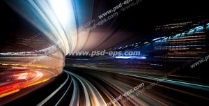 عکس با کیفیت دیوارپوش سه بعدی یا پس زمینه رندر سه بعدی با طرح تصویر تاری از حرکت قطار از خط سیستم ترانزیتی توکیو در شب