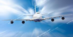 عکس با کیفیت هواپیمای در آسمان در حال حرکت با سرعت در میان ابرها