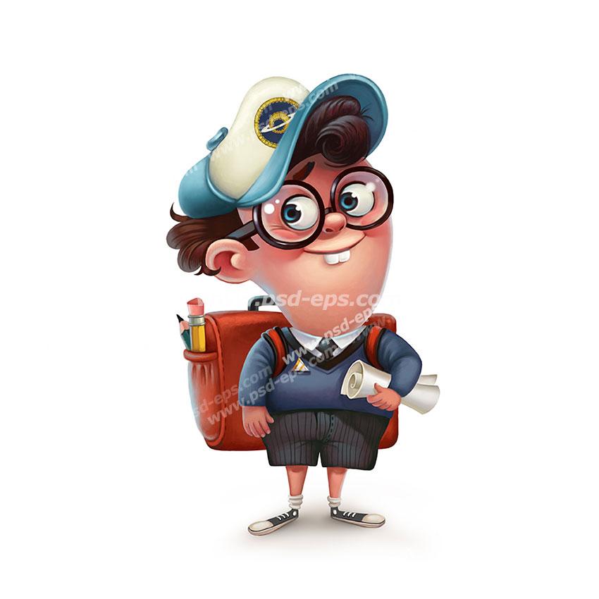 نقاشی فانتزی با کیفیت پسر بچه دانش آموز با کوله پشتی بر پشت به همراه عینک و کلاهی بر سر