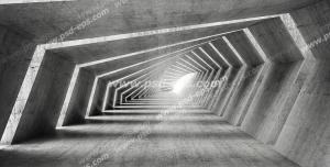 عکس با کیفیت دیوارپوش سه بعدی یا پس زمینه رندر سه بعدی با طرح تونلی به صورت نامتقارن با دیوارها و سقف سنگی با نورپردازی