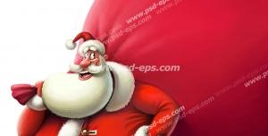 نقاشی فانتزی با کیفیت بابانوئل با کلاه و لباس مخصوص و کوله ای قرمز و بزرگ بر پشت