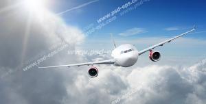 عکس با کیفیت نمای روبرو از هواپیما در حال پرواز بر فراز ابرها در میان تلالو نور خورشید