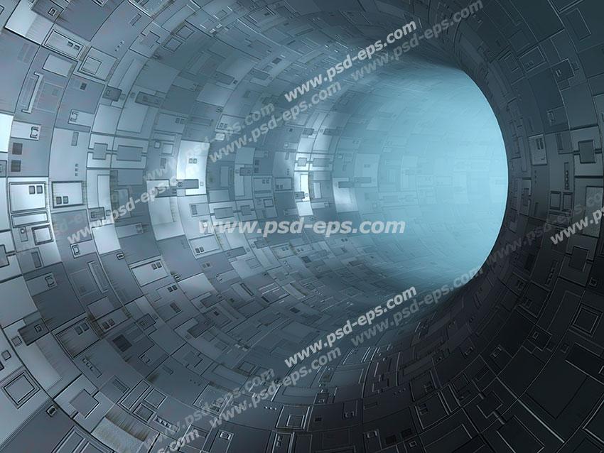 عکس با کیفیت دیوارپوش سه بعدی یا پس زمینه رندر سه بعدی با طرح تونلی تشکیل شده از قطعات فلزی