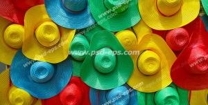عکس با کیفیت نمای نزدیک از کلاه های آفتابی رنگارنگ مخصوص تابستان