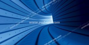 عکس با کیفیت دیوارپوش سه بعدی یا پس زمینه رندر سه بعدی با طرح خاص تونل آبی رنگ از زاویه گسترده