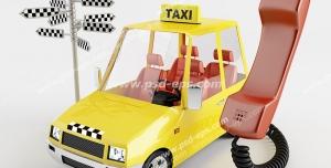 نقاشی یا طرح نمادین تاکسی تلفنی با تصویر تاکسی زرد رنگ و گوشی تلفن متصل به آن