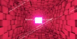 عکس با کیفیت دیوارپوش سه بعدی یا پس زمینه رندر سه بعدی با طرح تونلی تشکیل شده از مکعب هایی به رنگ صورتی
