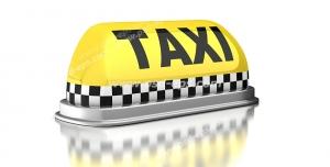 عکس با کیفیت علامت و نماد زرد رنگ کابین ماشین تاکسی با نوار چهارخانه سیاه و سفید