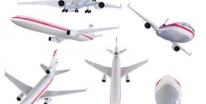 عکس با کیفیت یازده نمای مختلف از هواپیمای مسافربری با رنگ سفید و قرمز
