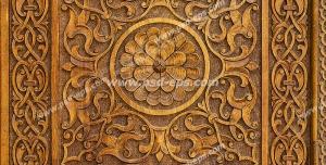 طرح منبت کاری بر روی چوب برای دیوارپوش ، پنل دکوراتیو یا درب چوبی با طرح زیبای سنتی گل ، شاخه و برگ و دارای حاشیه