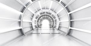 عکس با کیفیت دیوارپوش سه بعدی یا پس زمینه رندر سه بعدی با طرح تونل به سمت نور با راهرویی درخشان