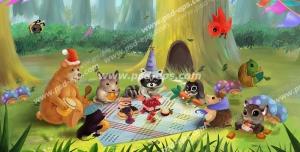 عکس با کیفیت تابلو دیواری یا طرح بین کاغذ دیواری یا کاغذ دیواری سه بعدی با منظره انیمیشنی جنگل به همراه حیوانات در حال پذیرایی جشن مناسب اتاق کودک