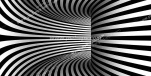 عکس با کیفیت دیوارپوش سه بعدی یا پس زمینه رندر سه بعدی با طرح شیک راهروی مارپیج با خطوط راه راه سیاه و سفید