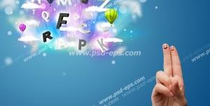 عکس با کیفیت نمادین آموزش زبان انگلیسی به کودکان با تصویر حروف انگلیسی ، بالن و نقاشی انگشتی