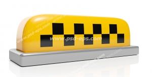 عکس با کیفیت علامت کابین تاکسی با نوار چهارخانه سیاه و زرد بر روی زمینه سفید