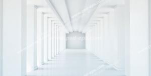 عکس با کیفیت دیوارپوش سه بعدی یا پس زمینه رندر سه بعدی با طرح راهرویی سفید رنگ به صورت پرسپکتیو