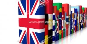 عکس با کیفیت نمادین کتاب های آموزشی زبان های خارجی اروپایی با تصویر کتاب های دارای جلد پرچم کشورهای اروپایی