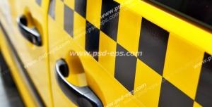 عکس با کیفیت نمایی از درب های تاکسی زرد شهری با نوار چهارخانه مشکی بر روی درب خودرو