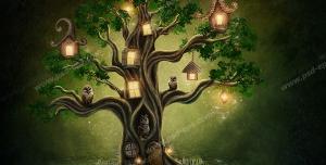 نقاشی فانتزی درختی با شاخه های پیچکی و جغد های نشسته بر روی شاخه ها به همراه لانه های کوچکشان