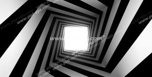 عکس با کیفیت دیوارپوش سه بعدی یا پس زمینه رندر سه بعدی با طرح تونلی لوزی مانند به سمت نور با خطوط سیاه و سفید