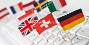 عکس با کیفیت پرجم کشورهای مختلف بر روی صفحه کلید با پیام تایپ متن به زبان و نوشتارهای خارجی