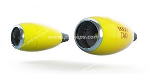 عکس با کیفیت نمادین تاکسی سریع با تصویر دو موتور جت با رنگ زرد و نشان متنی TAXI