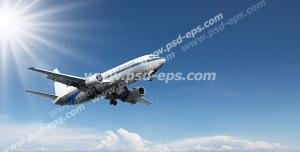عکس با کیفیت نمایی از هواپیمای در حال پرواز در آسمان آفتابی