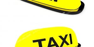 عکس با کیفیت دو نماد کابین تاکسی با رنگ زرد و متن TAXI با دو نما