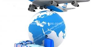 عکس با کیفیت نمادین از پرواز خارجی و بین المللی با تصویر هواپیما و کره زمین با چمدان های مسافرتی