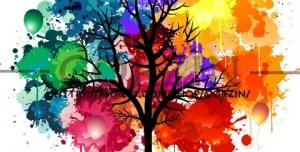 وکتور درخت رنگی دوربری شده