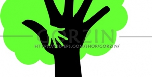 وکتور مفهومی دست به صورت درخت دوبری شده