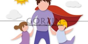 طرح وکتور پدر قهرمان مناسب روز پدر
