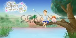 تصویر لایه باز پدر و دختر در حال ماهیگیری مناسب روز پدر