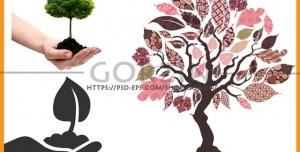 3 عدد وکتور درخت، نهال، کاشت درخت مناسب روز هوای پاک و روز درختکاری