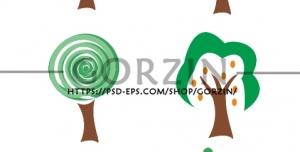 6 عدد وکتور درخت نقاشی کارتونی دوربری شده