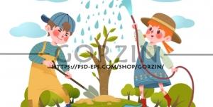 وکتور طرح کودکانه کاشت درخت، روز درختکاری، دوربری شده