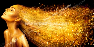 عکس با کیفیت فیگور و فون زیبای بانویی با پوست طلایی و مویی درخشان به رنگ طلایی