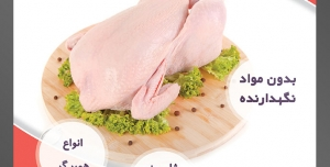 طرح لایه باز تراکت فروشگاه مواد پروتئینی گوشت مرغ با محوریت تصویر مرغ پاک شده تزئین شده با بروکلی