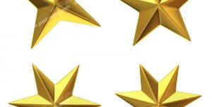 عکس با کیفیت ستاره های سه بعدی چهارپر ، پنج پر ، شش پر و هشت پر طلایی رنگ