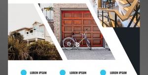 طرح آماده لایه باز پوستر یا تراکت مشاور املاک با محوریت تصویرنمای دور نمای درب خانه یک نما از داخل خانه
